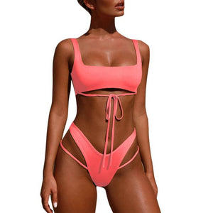 Strappy cutout 2 piece bikini swimsuit