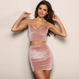 Velvet 2 piece crop top skirt set (1462527787051)