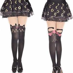 Kitty cat tattoo mock knee high stockings tights (1462522904619)