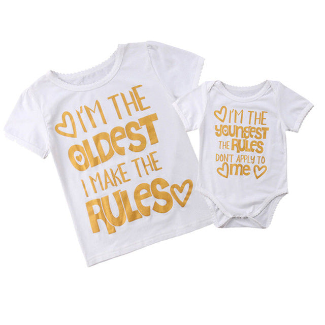 Matching big sister little sister rules printed tshirt (1655347085355)
