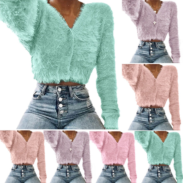 Fuzzy crop fashion cardigan sweater (4357119737939)