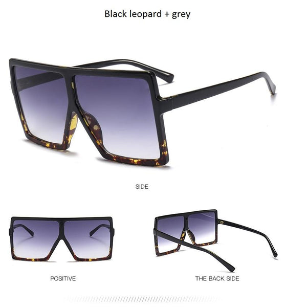 """ Midnight"" Flat top oversize retro sunglasses (1462486466603)"