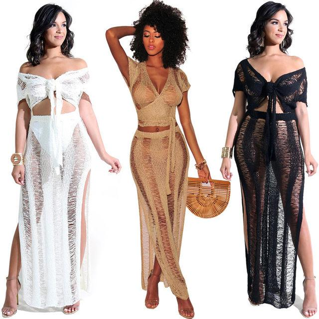 """Sunshine"" see through cutout 2 piece crop top skirt set (1462457401387)"