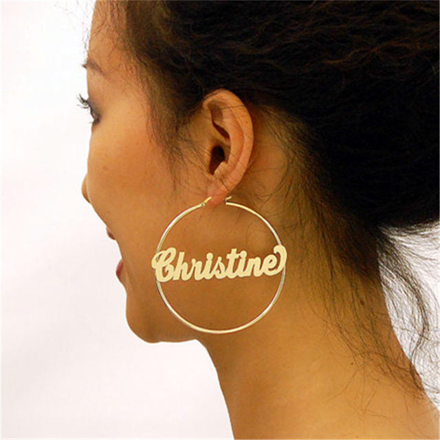 classic hiphop Luxury personalized custom name hoop earrings jewelry (4358648496211)