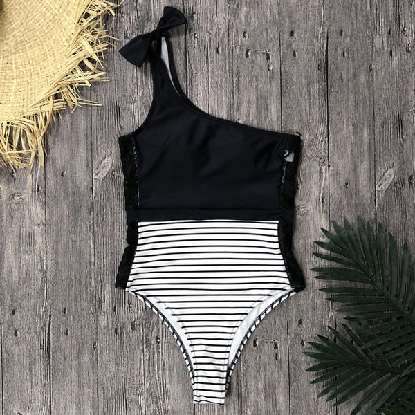 Side lace bow stripe detail one piece swimsuit (1715024789547)