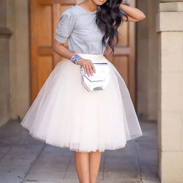 Chic Festive tutu tulle midi skirt (many colors) (4111428223019)
