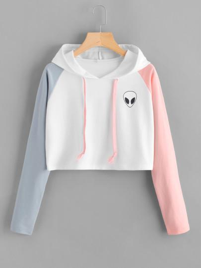 Invasion alien contrast crop hoodie sweater (1462521921579)