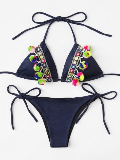 Denim Pom Pom detail 2 piece bikini swimsuit (1462496952363)