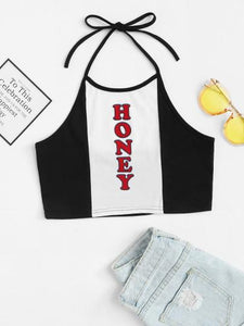 Honey text halter crop top (1462455173163)