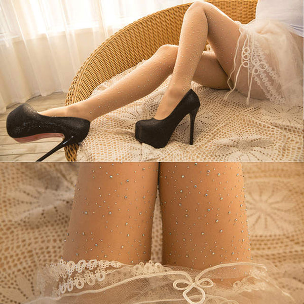 Luxury crystal diamond Rhinestone hosiery sheer pantyhose stockings tights (4357976326227)