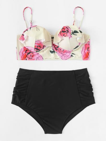 *PLUS DOLL* Ruffle high waist 2 piece plus size bikini swimsuit (1462475423787)