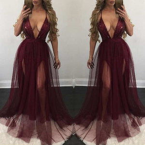 Sequins Deep plunge sheer split maxi dress (1752312512555)