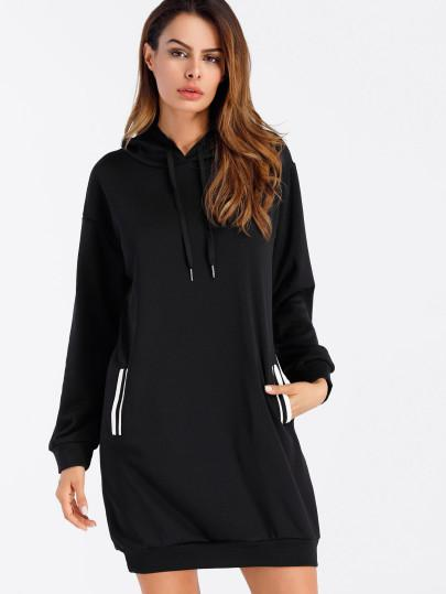 """Round da way"" Side pocket hoodie sweater dress (1462480076843)"