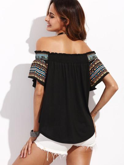 African tribal print off the shoulder blouse (1462513270827)