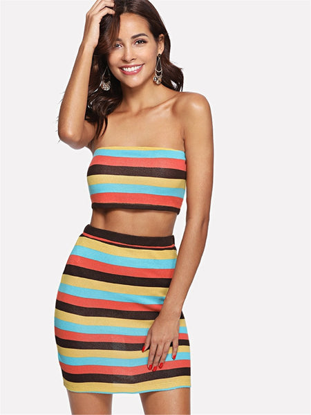 """Summer love"" Stripe 2 piece crop top skirt bodycon set"