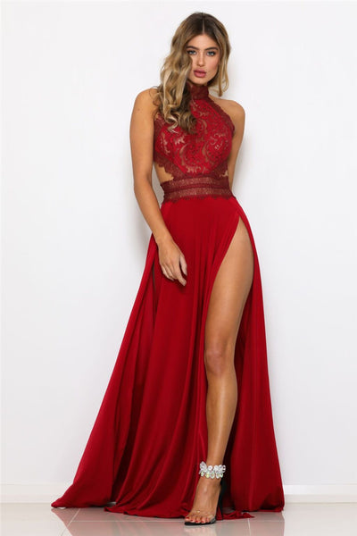 """Admire"" red lace detail elegant high split long dress (1752313724971)"
