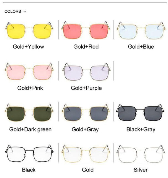 Retro color pop square small sunglasses (1462482993195)