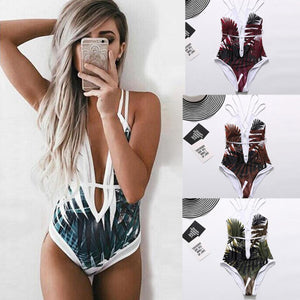 """Island beauty"" strappy one piece monokini swimsuit (1462457958443)"