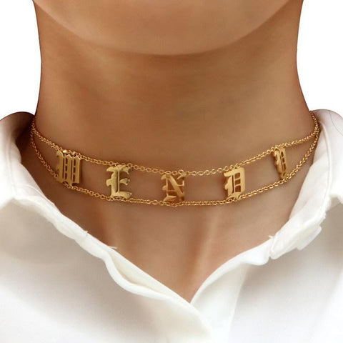 Retro Personalize custom name choker necklace (1462472376363)