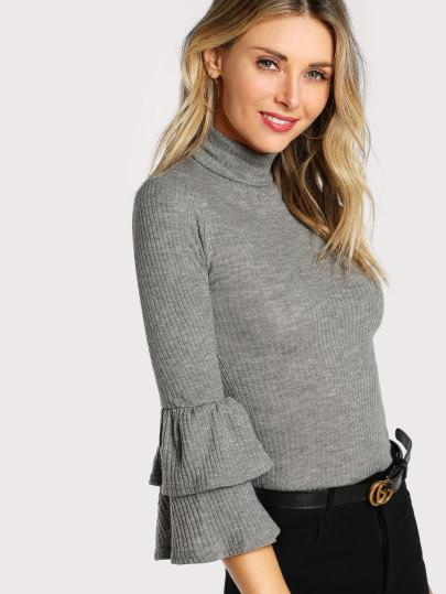 Ruffle truffle sleeve turtle neck blouse (1462505046059)