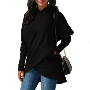 Ladies dolman long sleeve pullover wrap oversize hoodie sweater top (4350251794515)