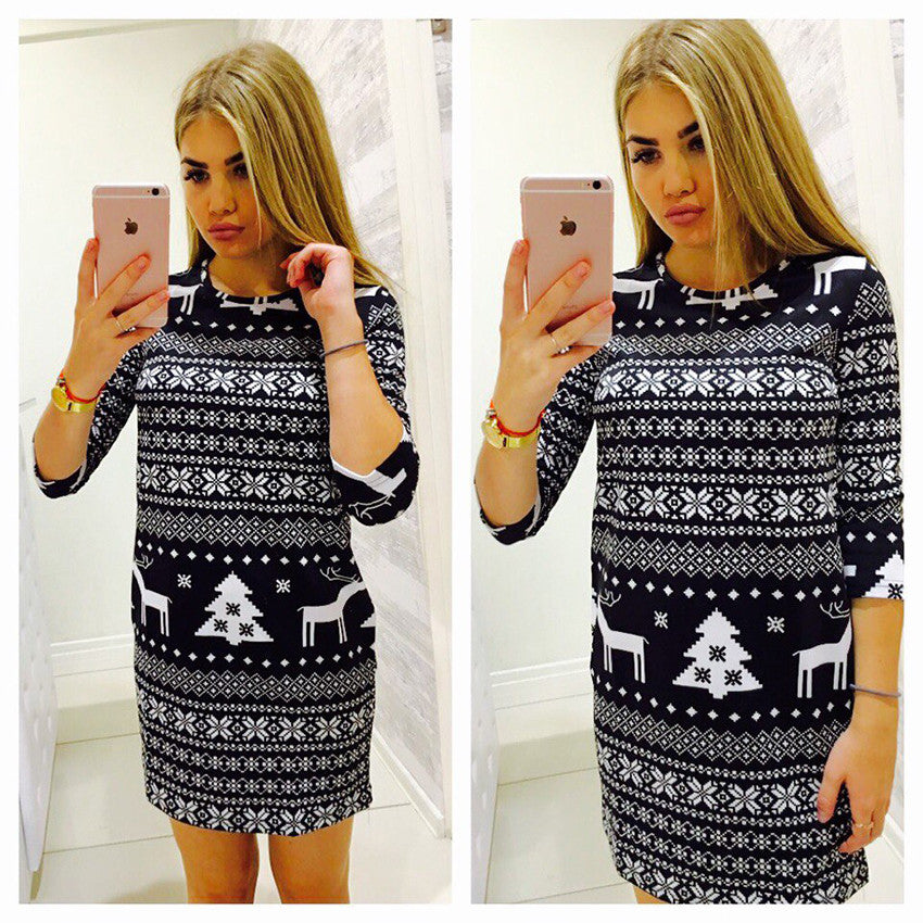 Trendy snowflake Christmas mini fashion dress (4357130715219)