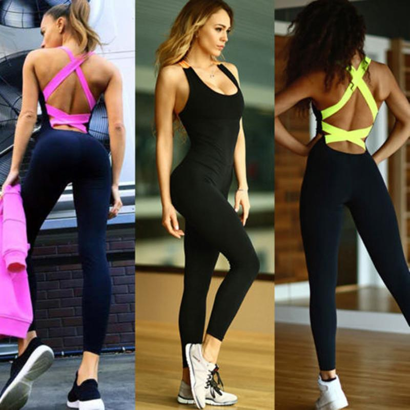 Cross back fitness workout clothing bodycon comfy jumpsuit (1462466576427)