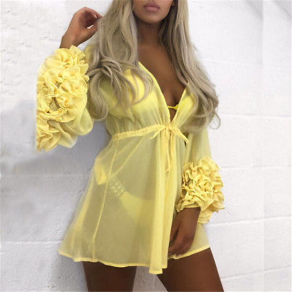 Classic ruffle sleeve sheer swimsuit coverup