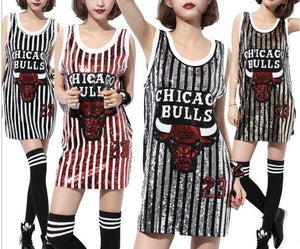 LADIES SEQUINS BULLS 23 TANK TOP CUSTOM THROWBACK TSHIRT DRESS