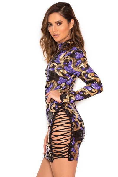 """What a night"" sequins side lace up bodycon dress (1462488793131)"