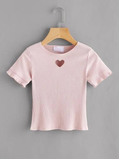 Heart cutout robbed top (1462504489003)