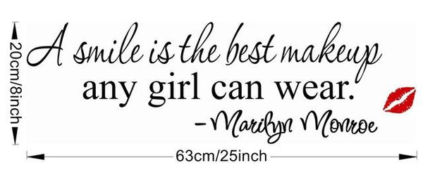 "Marilyn Monroe ""a smile is the best makeup any girl can wear"" vinyl wall decal sticker decor (1462533718059)"