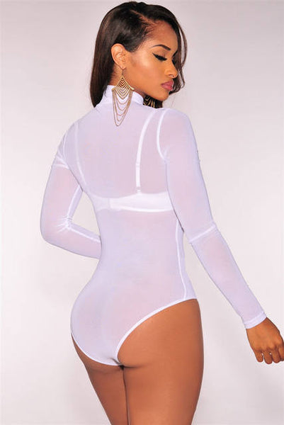 Classic sheer long sleeve turtle neck bodysuit (1614429388843)