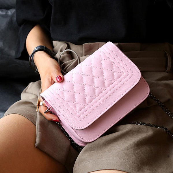 Design Leather style chain crossbody clutch handbag (1462494003243)