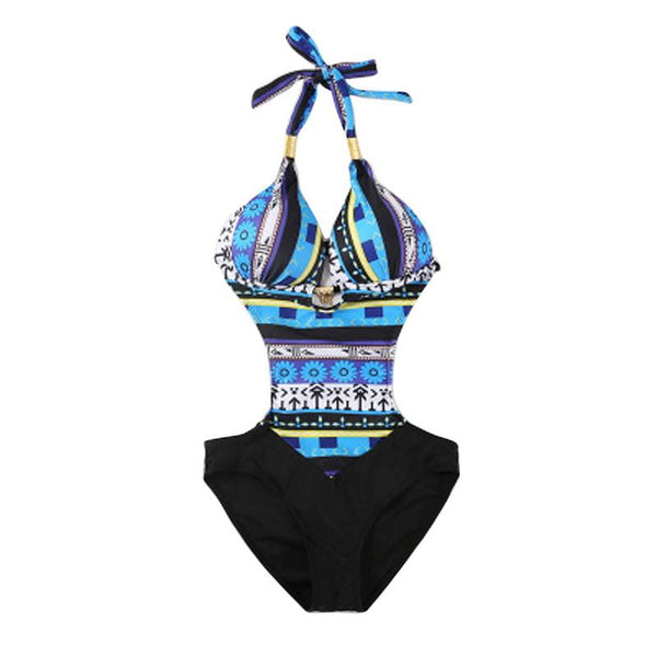 Tribal design one piece monokini bikini swimsuit