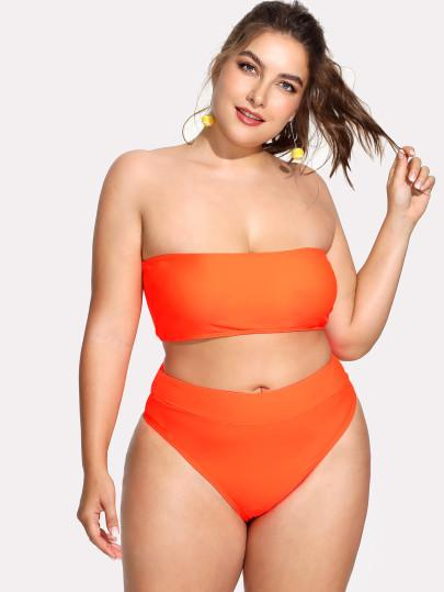 "*PLUS DOLL* ""Splendid"" 2 piece high waist plus size bikini swimsuit"