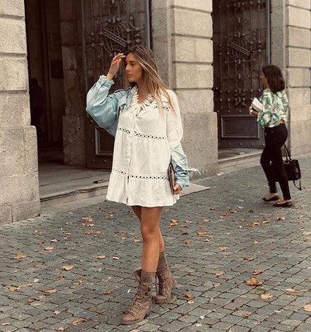Stylish crochet style tunic coverup shirt dress (1752059969579)