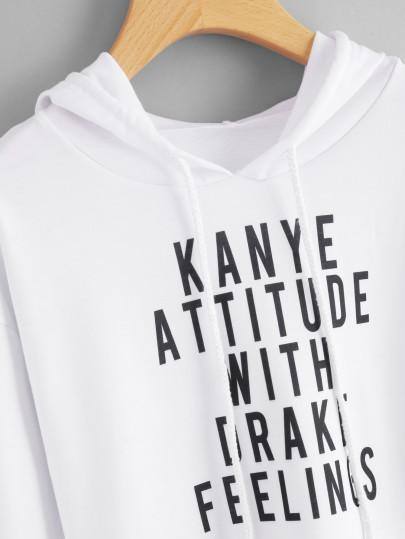 Kanye attitude with drake feeling pullover crop hoodie sweater (1462522380331)