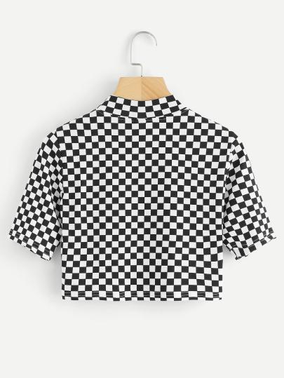 Checkered royalty sporty crop top (1462464643115)