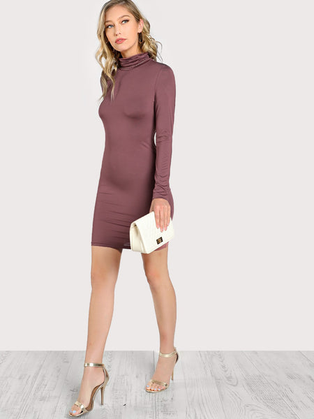 Ladies Turtle neck bodycon dress (1462508486699)