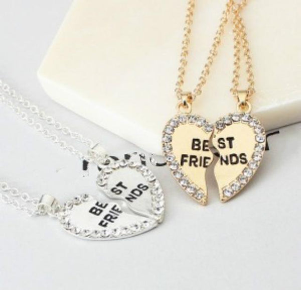 Rhinestone detail Heart Pendant Necklace Best Friend Letter Necklac (1462479847467)