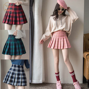 Clueless old school Plaid school girl pleated mini skirt (4111600222251)