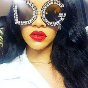 luxury letter inspired custom rhinestone oversize sunglasses