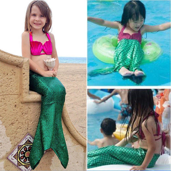 Dazzle Kids girls Mermaid style swimsuit bikini 3pcs set (1655328473131)