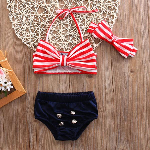 Mommy and me matching mom and baby Pin up stripe up stripe swimsuit (1462477455403)
