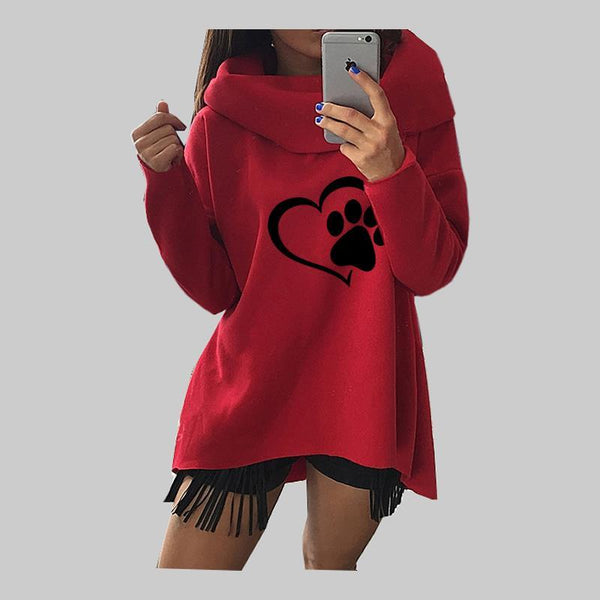 Animal dog paw printed oversize sweater (1462498951211)