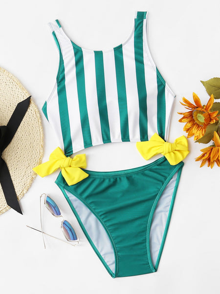 Bow cutout stripe one piece monokini swimsuit (1462485581867)