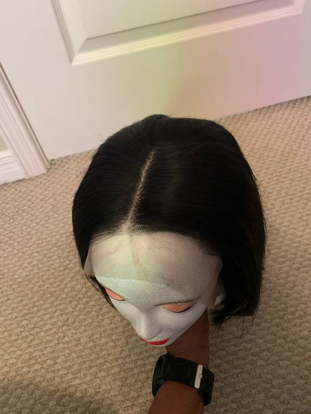 Iconic hair 13x4 Lace Short Bob Wigs Brazilian Human Hair Wigs lace front Pre-Plucked Bleached Knots (4350278697043)