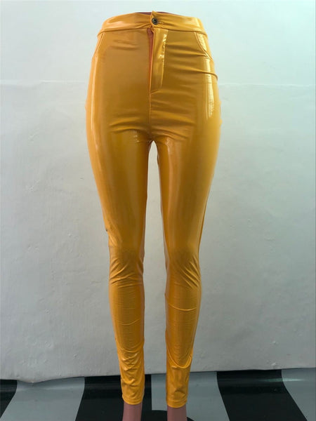 High waist Latex leather pants (1752323522603)