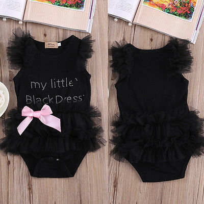 My little black dress ruffle baby onesie dress (1654143647787)